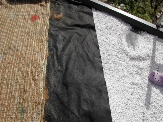 Living Roof Layers. From the bottom up: EPDM, Flitercloth, Perlite, 12oz filter cloth, Burlap, 80% pumice/mulch mix (not shown)